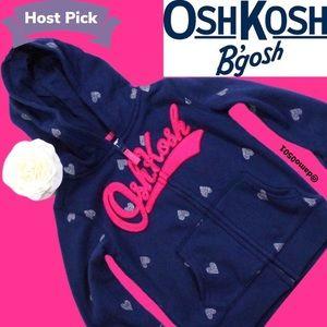 NWT Oshkosh Navy Sparkle Heart Zip Logo Hoodie